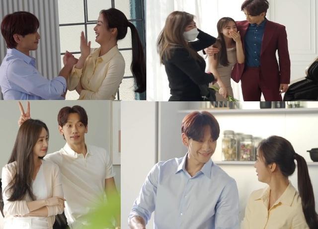 Vợ chồng Bi Rain và Kim Tae Hee tình tứ và lãng mạn trong hậu trường một buổi quay hình quảng cáo tháng 5/2021.